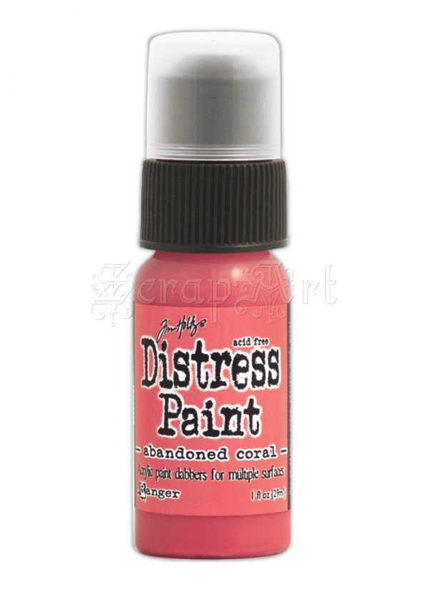 akrylová barva - February-Abandoned Coral Distress Paint 1oz Bottle Tim Holtz - Ranger