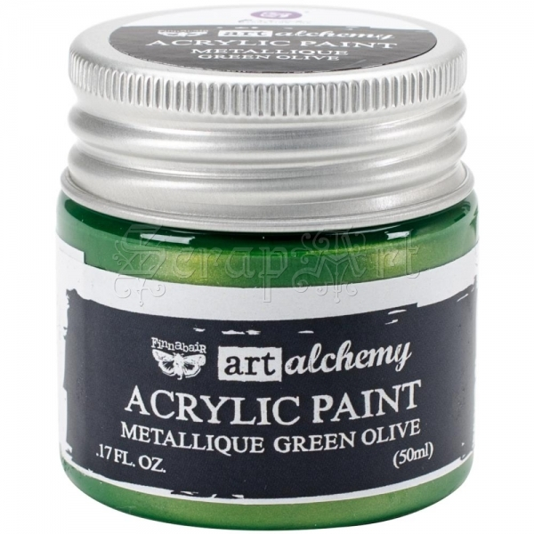 akrylová barva - Metallique Art Alchemy Green Olive Finnabair Prima Marketing