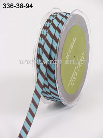 stuha - 336-38-94 - Brown/Blue Diagonal Stripe