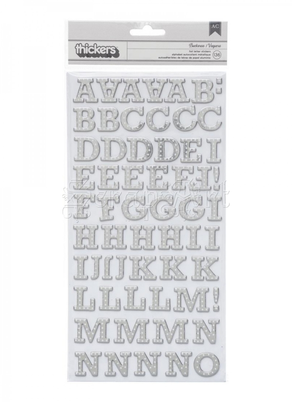 chipboard - Brighton Pier Thickers Alpha Stickers Silver Foil American Craft