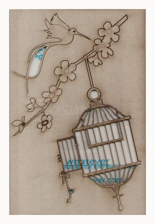 chipboard - Oriental Bird and Cage RWL100039 WOW