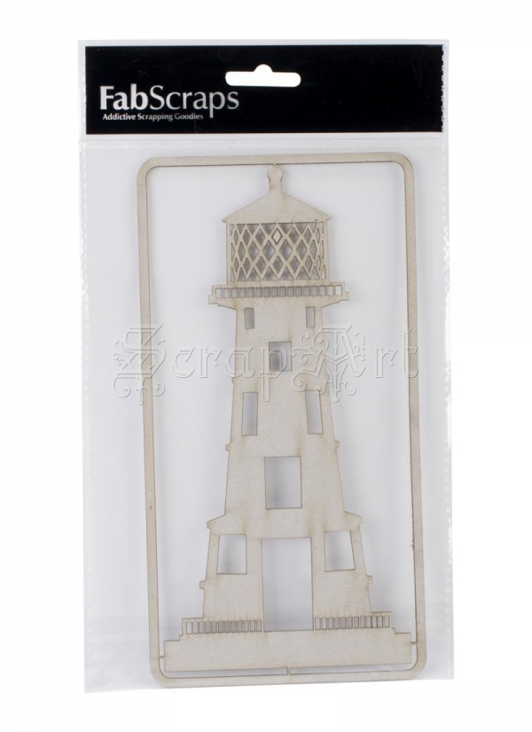 kartonový výřez - Chipboard Gray Lighthouse FabScraps