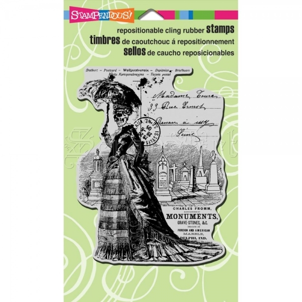 cling gumové razítko - Skeleton Lady Cling Rubber Stamps Stampendous
