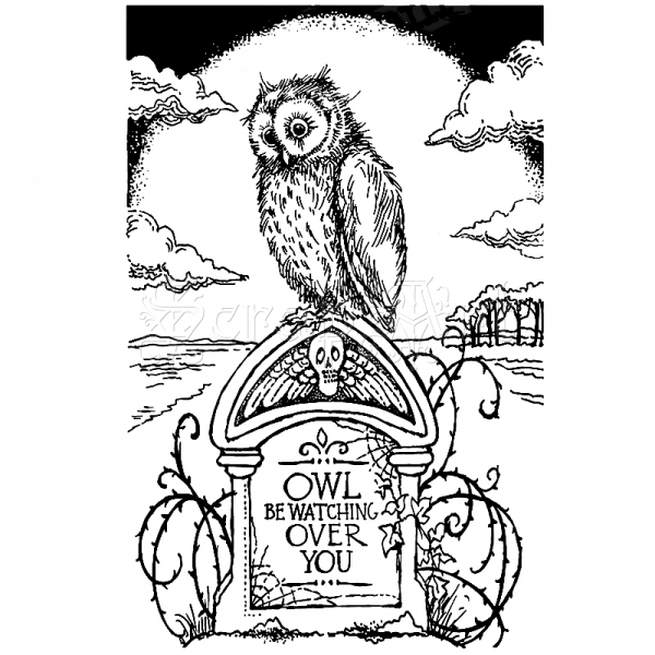 Tombstone Owl Cling Rubber Stamp - Stampendous