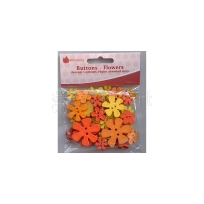 Flowers - Yellow Mix - Buttons - Woodware Craft Collection
