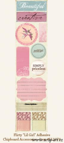 Lil Girl - Adhesive Chipboard Accessories - Laundry Line - Flirty