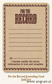 For the Record - Journaling Card
