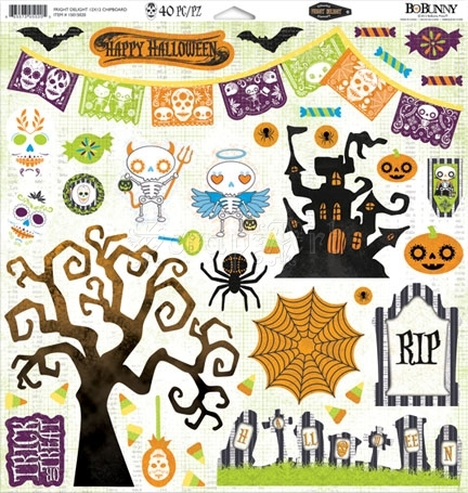 Fright Delight 12x12 Chipboard Self-Adhesive Bo Bunny