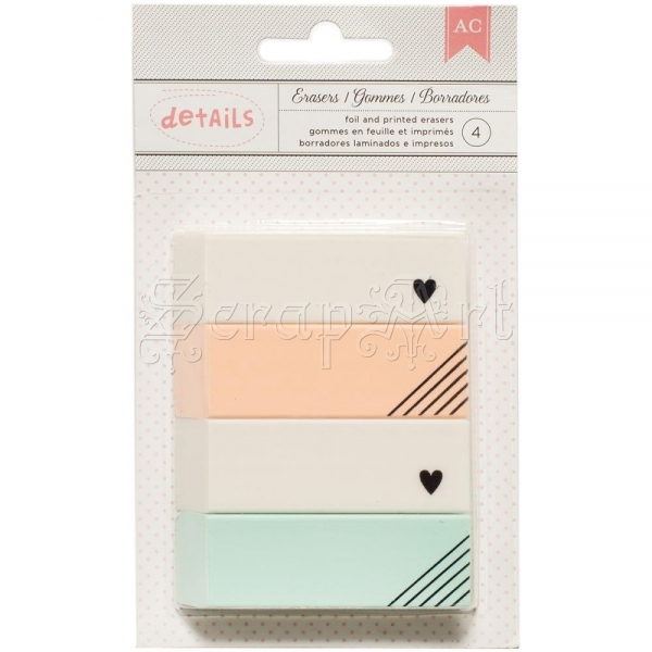 guma na gumování - Gold Heart Designer Desktop Essentials Erasers American Craft