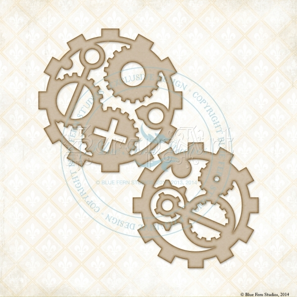 Industrial Gears Chipboard - Blue Fern Studios