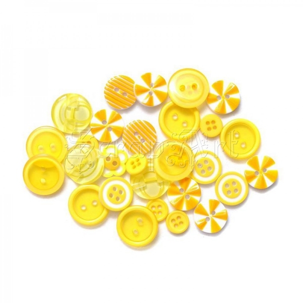 knoflíky - Button Bouquet Assortment 36 Pkg Yellow Queen & Co