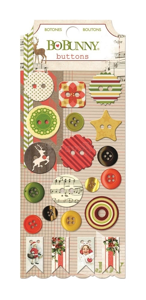 Christmas Collage Buttons 21 ks Plastic and Chipboard Bo Bunny