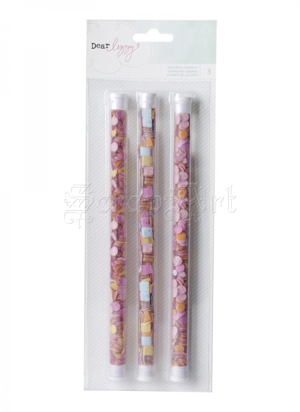 konfety papírové - Fine and Dandy Confetti and Glitter Sticks 3 Pkg American Craft