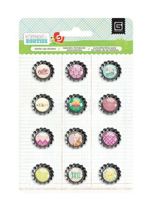 kovové dekorace - Knee Highs Bottle Cap Stickers Knee Highs & Bow Ties Basic Grey