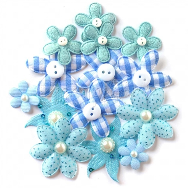 kytičky - Fabric Blossoms 1oz Blue Queen & Co