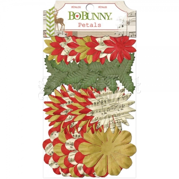 Christmas Collage Petals Paper Flowers - Bo Bunny