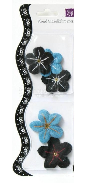 kytičky dekorační - Fabric Flower Corduroy Black and Blue 5 Pc Prima Marketing
