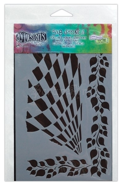"Luscious Leaves 5x8"" - Dylusions Stencils"
