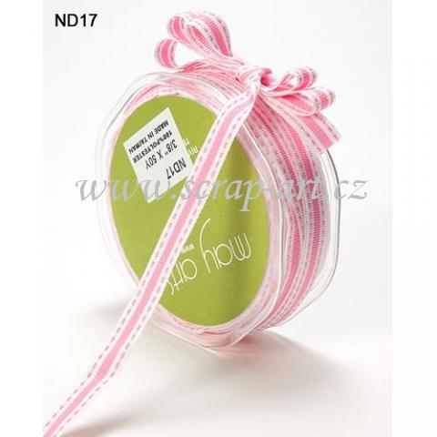 stuha - ND 17- White / Pink Stitched