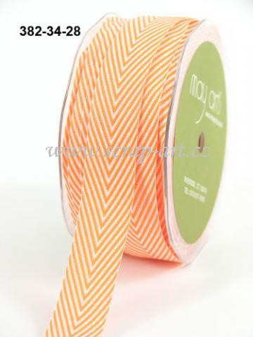 stuha - 382-34-28 - Orange Twill Stripe