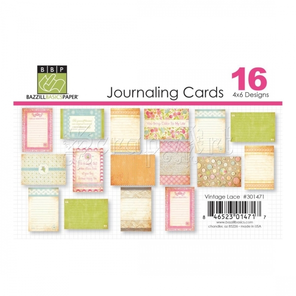 Vintage Lace Journaling Cards 4 x 6 - Bazzill Basic Paper