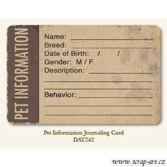 Pet Information  - Journaling Card