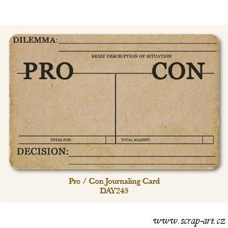 Pro - Con  - Journaling Card