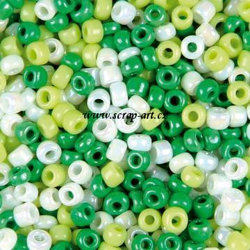 Rocailles mix green white 10-0 2,2mm