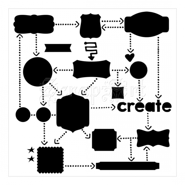 šablona / maska - Mini Template Flow Chart6 The Crafters Workshop