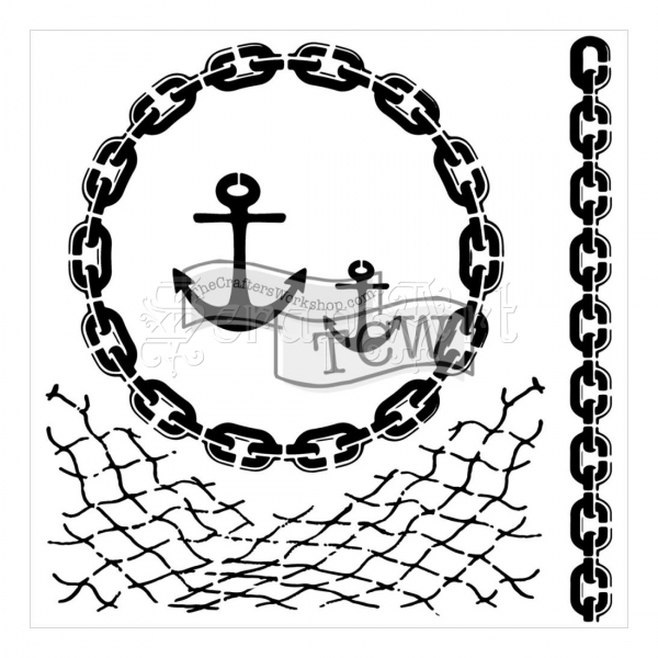 "šablona / maska - Nautical Chains Mini Template 6 x 6"" The Crafters Workshop"