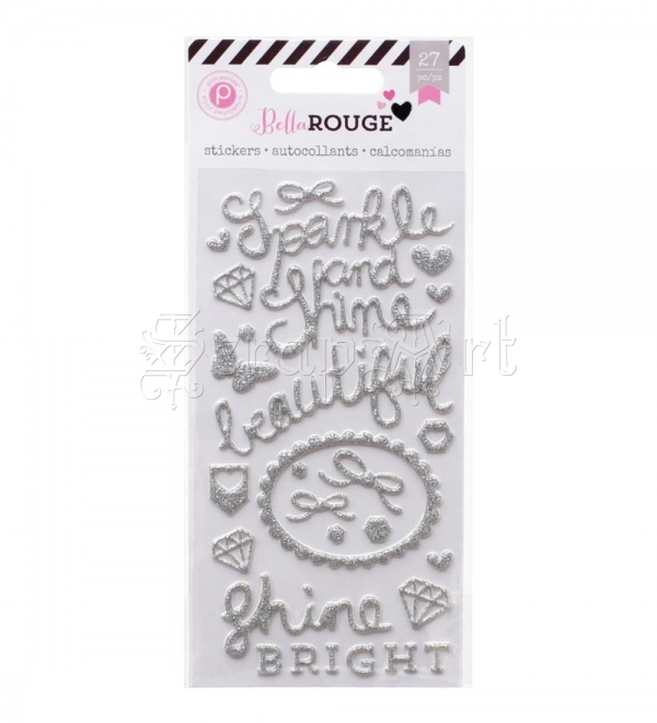 samolepící dekorace - Puffy Glitter Stickers Silver Words & Shapes Bella Rouge Pink Paislee