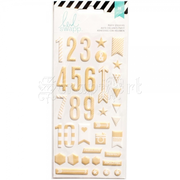 samolepky - Numbers Puffy Stickers Gold Heidi Swapp
