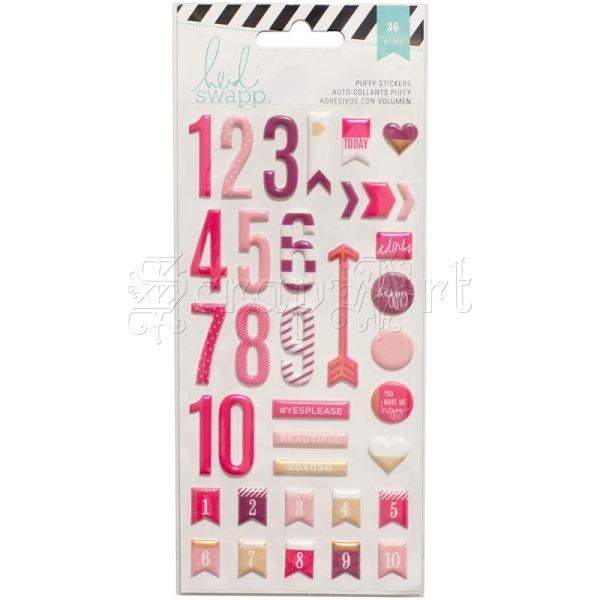 samolepky - Numbers Puffy Stickers Pink Heidi Swapp