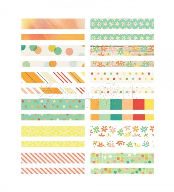 samolepky - Summer Vibes Washi Paper Tape Strips & Circles Designer - Simple Stories