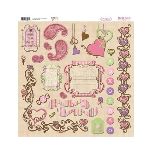 Smoochable - Chipboard 12x12 Bo Bunny
