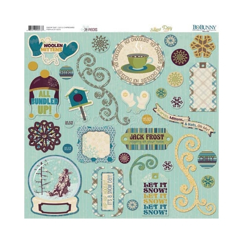 Snow Day Chipboard Self-Adhesive Bo Bunny