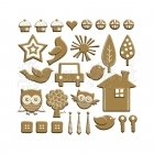 Chipboard Accents Gold Foil & White