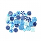 knoflíky - Button Bouquet Assortment 36 Pkg Blue Queen & Co