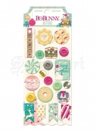 knoflíky - Candy Cane Lane Buttons 21 ks Plastic and Chipboard Bo Bunny