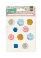Mint Julep Vintage Buttons - Basic Grey