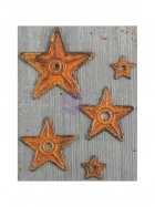 kovové dekorace - Mechanicals Metal Embellishments Barn Stars 5 Pkg Finnabair - Prima Marketing Inc.