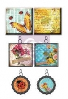 kovové dekorace - Zephyr Vintage Metal Trinkets and Tiles 6 Pkg Prima Marketing