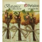 kytičky dekorační - Fall Burlap Leaf Picks 3 Botanica Holiday Petaloo International