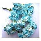 kytičky dekorační - Mini Rose - Soft Blue