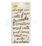 samolepky - Rise and Shine Thickers Stickers Grace Phrase Gold Foil American Craft