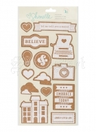 samolepky - Shimelle True Stories Cork Stickers Icons American Craft