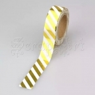 Washi páska - Gold W Diagonal Stripes Foil Washi Tape