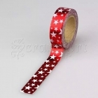 Washi páska - Red W Stars Foil Washi Tape