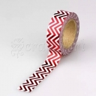 Washi páska - Red Zigzag Foil Washi Tape