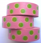 Washi Tape - Dotted - Pink - Green